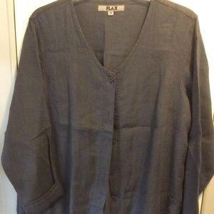 Dark Gray Flax Linen Button Down Collarless Jacket